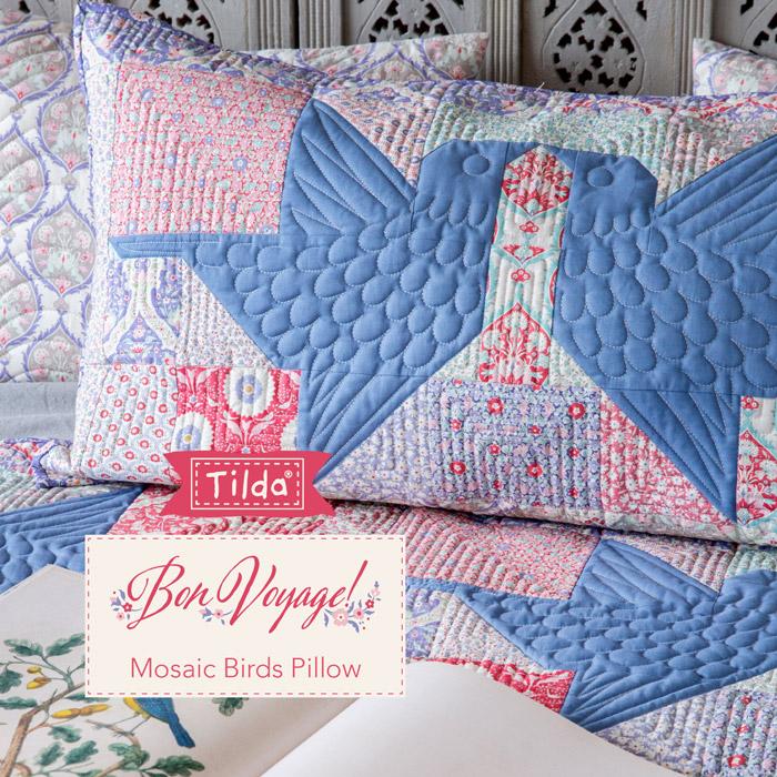 Mosaic Birds Pillow - Cuscino